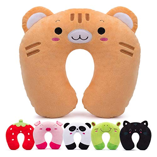 H HOMEWINS Travel Pillow for Kids Toddlers - Soft Neck Head Chin Support Pillow,Cute Animal,Comfortable in Any Sitting Position for Airplane,Car,Train,Machine Washable,Children Gifts (Tiger)