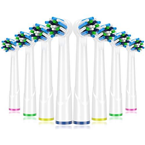 ITECHNIK Zahnbürsten Aufsätze für Zahnbürsten oral b Ersatz, Cross Aufsteckbürsten Action kompatibel mit Oral B GENIUS, Oral B SMART, Oral B PRO, Oral B Vitality,8 Ersatzbürsten