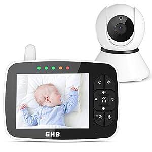GHB Vigilabebés Inalambrico Bebé Monitor Inteligente con LCD 3.5 Pulgadas
