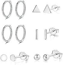 Small Silver Hoop Earrings Sterling Silver Stud Earrings 5 Pairs Silver Cartilage Earrings Set for Women Men Girls 8mm