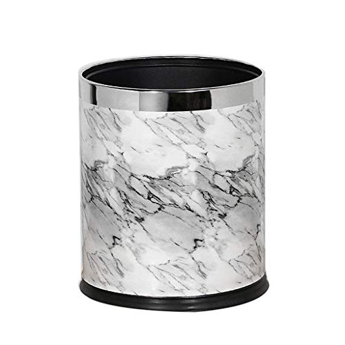 ZWD Domestic Vuilnisbakken, Creative Marble Pattern Stainless Steel Trash Can Hotel Bedroom Powder Room Living Room Vuilnisbak Verzameling (Color : C, Size : 10L)