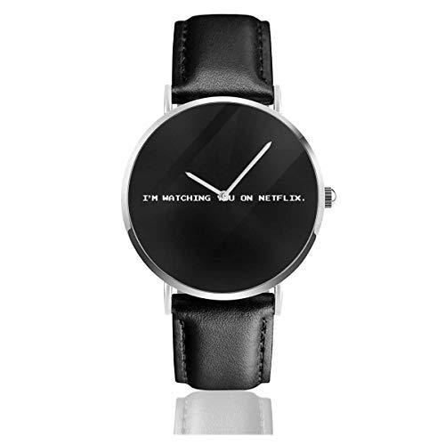Unisex Business Casual Black Mirror Bandersnatch Im Watching You On Netflix Relojes Reloj de Cuero de Cuarzo