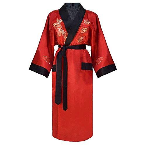GYPPG Chinesische Männer Wende Satin Robe Stickerei Dragon Kimono Bademantel Kleid...