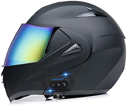 Casco integrado de motocicletas integrado Bluetooth, anti-deslumbramiento Cara completa con volteo doble Viseras Modulares Motocross Cascos Certificación de puntos para hombres y mujeres adultos I, L