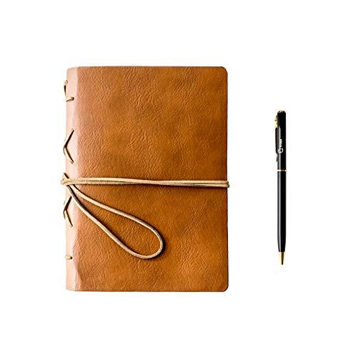 Troex Diario de piel – respetuoso con el medio ambiente, cuaderno de escritura con bolígrafo, páginas sin forro, diario de viaje compacto para escribir y dibujar con cuerda multifuncional para cierre