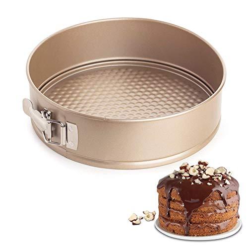 Salvagoccia BESYZY tortiera teglia antiaderente a sgancio rapido latch Spring forma rotonda per torte dolci, teglia con fondo staccabile 18 cm (17,8 cm)