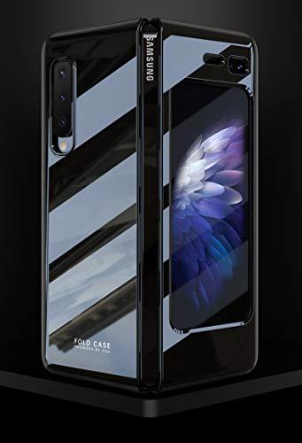 BaiFu UV-Grill-Porzellanserie Superdünne Hülle für Samsung Galaxy Fold/Galaxy Fold 5G, Stoßfest Schutzhülle mit ultradünne & Slim handyhülle für Samsung Galaxy Fold-Klavier schwarz