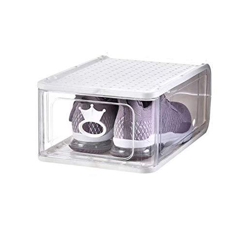 MHIBAX Caja De Zapatos Caja De Almacenamiento Tipo Cajón Transparente Zapatillas De Deporte Armario De Plástico Caja De Zapatos Zapatero Que Ahorra Espacio 13.5x31.5x21.5cm Blanco (Paquete de 5)