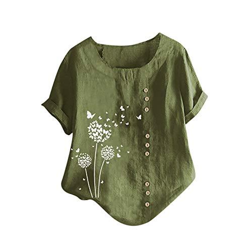 Camiseta de Mujer Estampado de Flores de Diente de LeóN Talla Grande AlgodóN Y Lino Botón Vertical Pequeño Fresco Camiseta de Mujer Manga Corta Mujer Simple Camisetas Moda Blusa