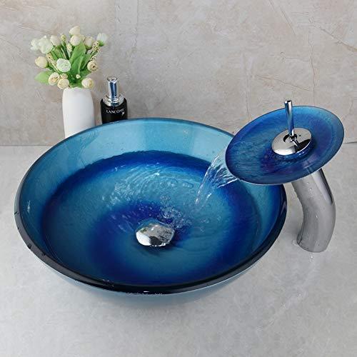 WEILINW Glasschale Waschbecken Blau Handbemalte Waschbecken Toilette Kombinieren Messing Wasserfall Wasserhahn Mixer Wasserhähne Set
