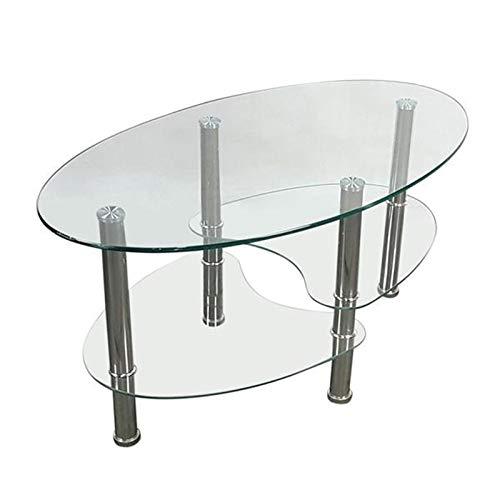 SUNTAOWAN Mesa de Centro de Vidrio Templado de Estilo de Pescado Doble Simple Mesa Transparente Mesa de té Muebles Muebles Moderna Sencillez
