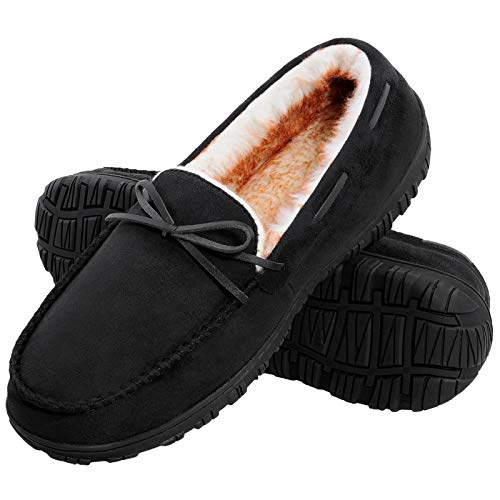 Harebell Moccasin Slippers for Men Cozy Memory Foam Home Shoes with Anti Slip Rubber Sole Office Working Shoes Black 12 M US