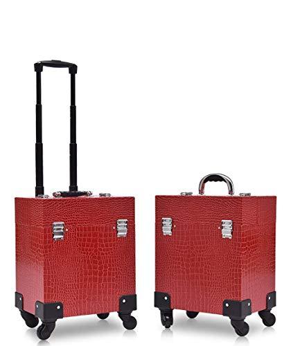 Cxjhh Mallette de voyage à roulettes avec grands tiroirs coulissants et 4 roulettes universelles
