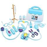 LAANCOO Niños Niños médico de cabecera Juguete Kit Médico Juguetes Kit de niños Niños Azul Doctor Nurse Conjunto de Juguete 15PCS