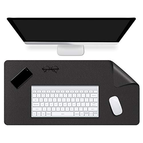 WAYIFON Office Desk Pad, 27x13 in Multifunctional Dual-Sided Office Desk Mat, Waterproof PU Leather Mouse Pad, Premium Desk Writing Mat with Smooth and Soft Surface for Office and Home - Black