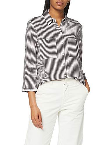 Tom Tailor Streifen Sommer Blusas, 25350 Grey Vertical Stripe, 40 para Mujer