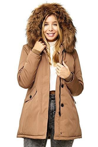 Elara Damen Winterparka | Jacke mit Echt Pelz / Echt Fell Kapuze | Designer Damenjacke | Gefütterte Outdoor Mantel | chunkyrayan, Größe 34, Farbe Camel London