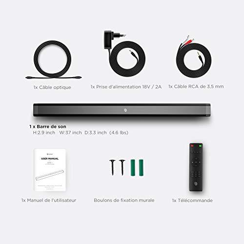 Bomaker Barre de Son sans Fil 120dB, Barre de Son pour TV 2.0 Canal Haut-Parleur, Wireless Bluetooth 5.0 Soundbar, Son Surround Home Cinéma - ODINE I