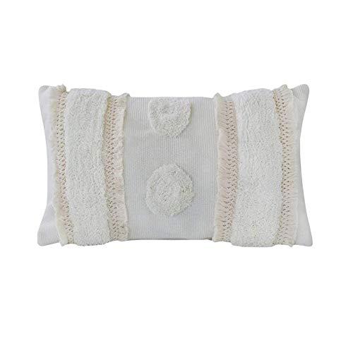 hi-home, 1 federa decorativa per cuscino in cotone con nappa, per divano, camera da letto, soggiorno, auto, super morbida, 30 x 50 cm (crema)