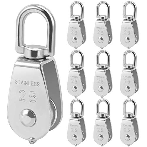 ZOENHOU 10 Pack 330 Lbs M25 Single Pulley Block, 304 Stainless Steel Single Pulley Roller with Rotatable 360°Pulley and Rings, Heavy Duty and Smooth Rope Pulley Block for Rope Lifting