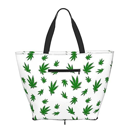 Bolsa de compras verde hojas Eco bolsa para mujeres adolescentes niñas moda bolsas de hombro bolsa bolsa de mano para viajes libros escolares