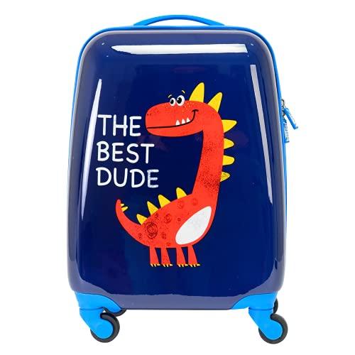 Bontour Maleta infantil con diseño de dibujos, maleta con ruedas, equipaje de mano, maleta pequeña de viaje para niños y niñas, Dino-2, Equipaje infantil