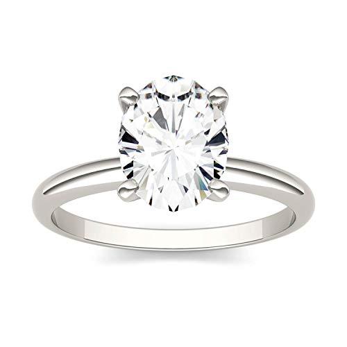 Charles & Colvard Forever One anillo de compromiso - Oro blanco 14K - Moissanita de 9.0 mm de talla oval, 2.1 ct. DEW, talla 19,5