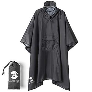 Poncho impermeable multifuncional 3 en 1 con capucha para adultos – Impermeable impermeable, parasol lona, tienda de tierra – 86 x 56 pulgadas tela de poliéster gris desierto