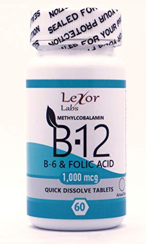 Lexor Labs Methylcobalamin B12, B6 & Folic Acid Quick Dissolve Tablets 1000 Mcg, 60Count - Vitamin B Supplements - Supports Brain Cells & Nerve Tissues