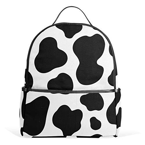 JinDoDo - Zaino in pelle di mucca con motivo bianco e nero, per la scuola, adatto a ragazze e ragazzi