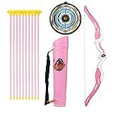 Sunbary Arco y flecha para niños, juego de tiro con 10 flechas de ventosa, 1 diana, 1 arco y 1 carcaj, regalo para principiantes y niños