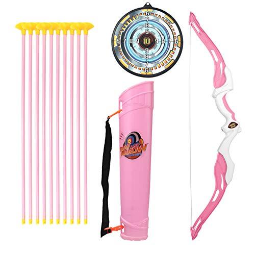 Sunbary Pfeil und Bogen Kinder Bogenschießen Schießspiele Spielzeug mit 10 Pfeilen Saugnapf, 1 Zielscheibe, 1 Bogen und 1 Köcher, Geschenk für Anfänger und Kinderbogen