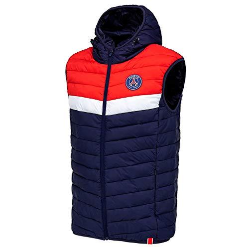 PSG - Chaqueta oficial del Paris Saint-Germain con capucha para hombre, color azul y rojo