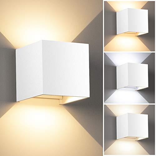 LEDMO 12W Lampada da Parete per Interni/Esterno LED Moderno Applique Esterno Muro su e Giù Regolabile Design IP65 Impermeabile