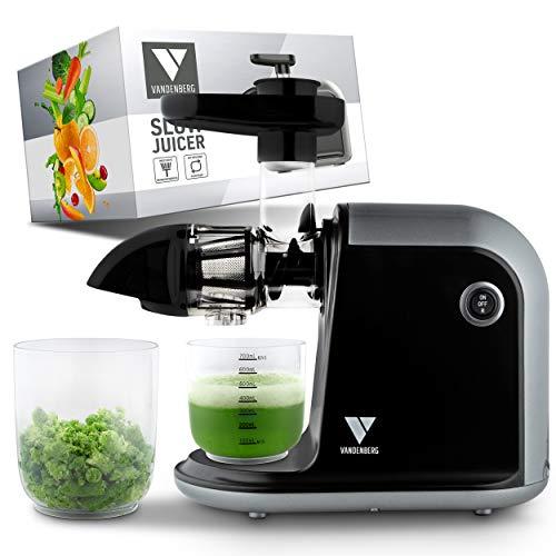 Vandenberg Slow Juicer - Exprimidor silencioso para verduras y frutas [150 W] - Exprimidor eléctrico con función inversa - Incluye cepillo de limpieza