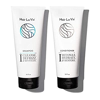 Hair La Vie Shampoo & Conditioner - Best Shampoo and Conditioner for Dry Damaged Hair - Speed Up Hair Growth and Boost Volume, 10 fl oz.