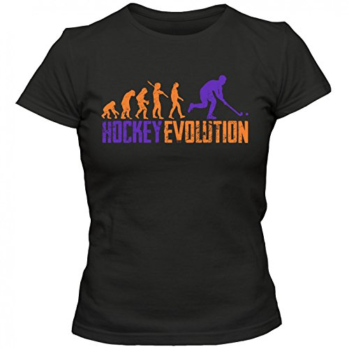 Hockey Evolution #1 T-Shirt | Eishockey | Streethockey | Unique | Frauen | Shirt, Farbe:Schwarz (Deep Black L191);Größe:S