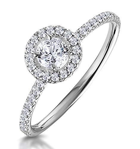 TheDiamondStore - Halo-Verlobungsring - 0,53 ct. echte Diamanten - Breite der Ringschiene 2 mm - Weißgold 9 Karat - Ringgröße 50