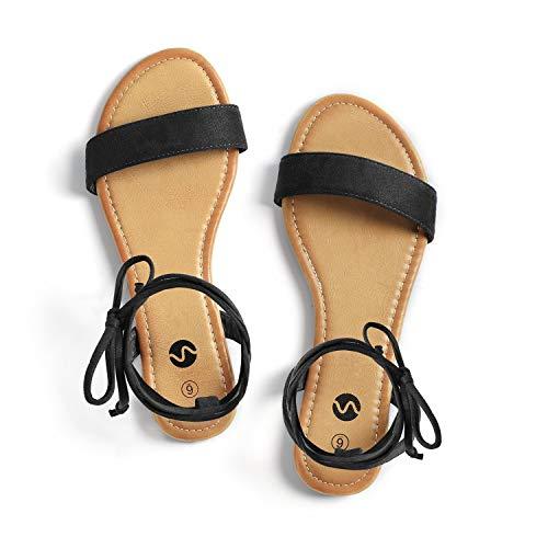 Rekayla Open Toe Tie Up Ankle Wrap Flat Sandals for Women Black 11