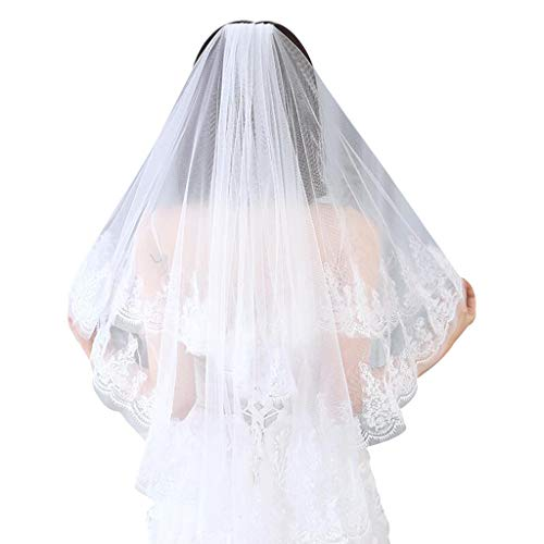 PHILSP2 Tier de Doble Capa Velo de Novia para Mujer Lentejuelas con Purpurina pestañas adornadas Festoneado de Encaje Peine Velo de Novia Traje de Fiesta