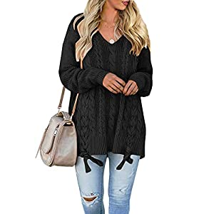 Women's Pullover Sweaters Plus Size Cable Knit V Neck  Long Sleeve Jumper