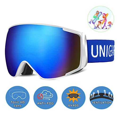 Unigear Skibrille, Skido X2, Eltern-Kind-Snowboardbrille Hyperboloid Schneebrille OTG UV-Schutz...