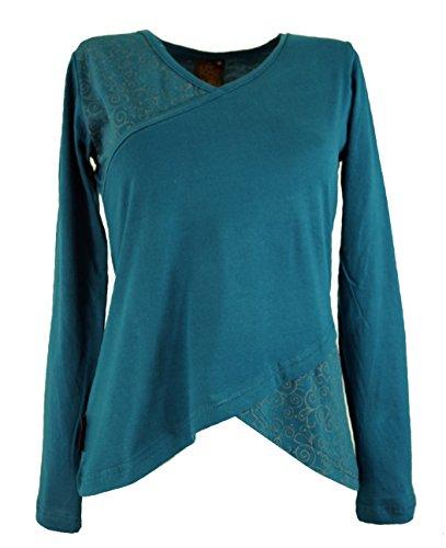 GURU SHOP Langarmshirt -chic, Damen, Blau, Baumwolle, Size:M (38), Pullover, Longsleeves & Sweatshirts Alternative Bekleidung