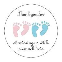 MAGJUCHE ブルーとピンク It's Twins Thank You for Coming ベビーシャワーステッカー 女の子と男の子 小さな足 パーティー記念ステッカー 2インチ 40枚パック