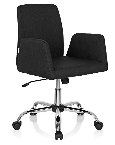 hjh OFFICE 723032 Living Stuhl Flow Stoff Schwarz Bürostuhl Drehsessel gepolstert mit Rollen & Wippfunktion, höhenverstellbar