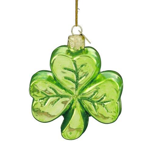 Noble Gems Kurt Adler 3-1/4-Inch Glass Shamrock Ornament