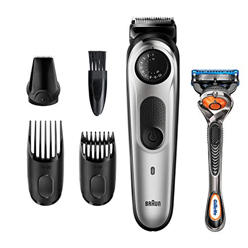 Braun Recortadora de Barba y Cortapelos BT5260, Máquina Cortar Pelo, para Hombre, 39 Ajustes de Longitud, Color Negro y Metal Plateado