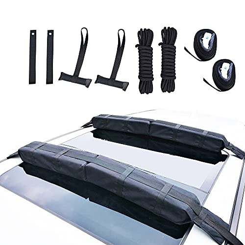 """Alfa Gear Universal Extra Long Lightweight Anti-Vibration Roof Rack pad for SUP/Snow Board/Ski Board with Hood Loop and Truck Straps Products Size 37.8""""X4.5""""X3.1"""" 2 pcs/Set Black"""