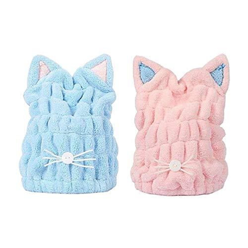 SiMin 2 toallas de secado de pelo, de microfibra suave, con diseño de orejas de gato, muy absorbente, de secado rápido, con banda elástica para mujeres y niñas