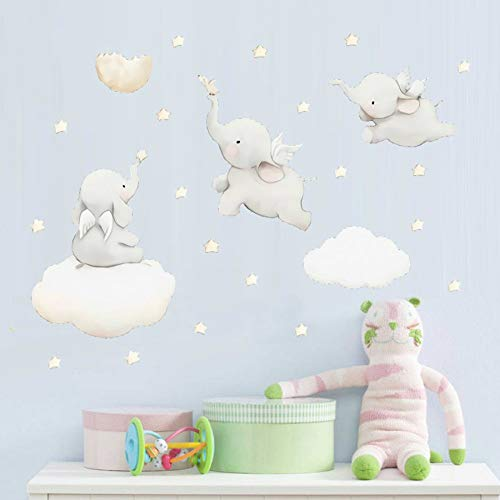 Cartoon sterren wolk muursticker olifant dier sticker baby kinderkamer decoratie kinderkamer muurtattoos